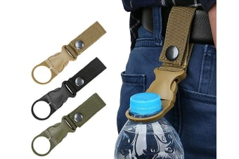 Hanging Buckle Portable Water Bottle Ring Holder Mineral Water Bottle Clip for Backpack Belt Outdoor Camping Hiking Traveling (ARMY GREEN)