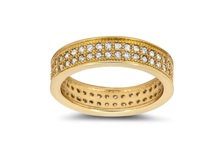 Detailed Milligrain Crystal Ring Made With Crystal Elements-Gold/Clear Size US 9