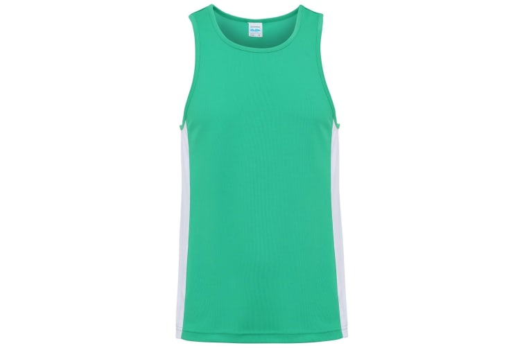 AWDis Just Cool Mens Contrast Panel Sports Vest Top (Kelly Green/Arctic White) (M)
