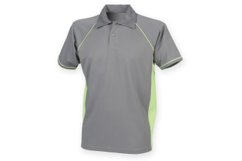 Finden & Hales Mens Piped Performance Sports Polo Shirt (Gunmetal Grey/Lime)