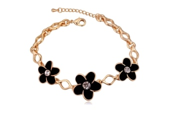 Daisies-In-Three Bracelet w/Swarovski Crystals-Gold/Black