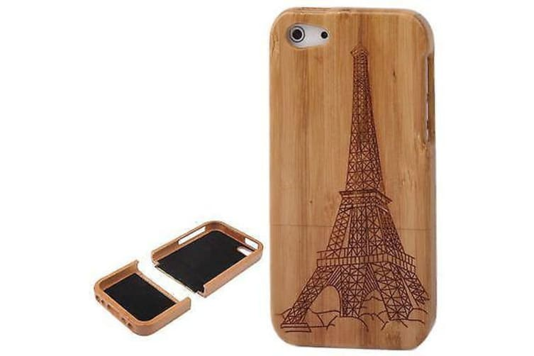 For iPhone SE 5S 5 Case Eiffel Tower Bamboo Carved Wooden Shielding Cover