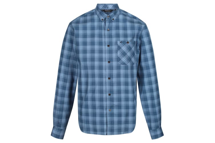 Regatta Great Outdoors Mens Lazare Long Sleeve Checked Shirt (Captains Blue/Blue Wing) (XL)