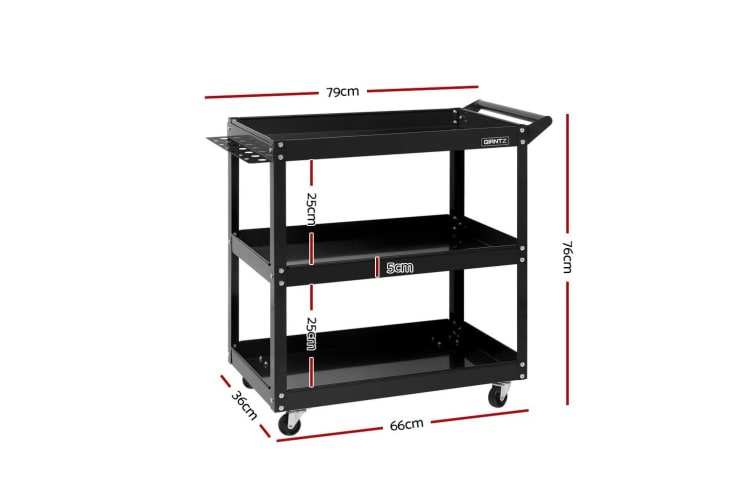 Giantz Tool Trolley Box Cart 3-Tier Toolbox Garage Storage Roller Organizer BK
