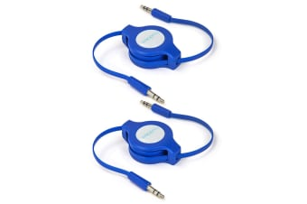 2x Buddee 3.5mm Retractable Male Aux Audio 1m Cable Car Stereo Auxiliary Cord BL