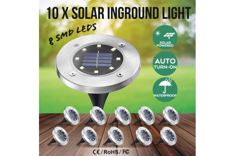 10x LED Solar Powered Buried Inground Recessed Light Outdoor Garden Deck Lighting Lamp