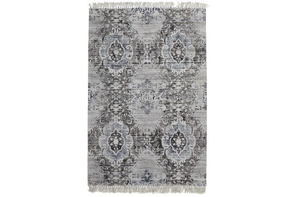 Shirley Viscose Flatweave Rug Silver Navy 225X155cm