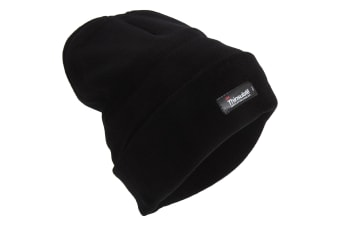 Mens Heatguard Thermal Thinsulate Winter/Ski Beanie Hat (Black) (One Size)