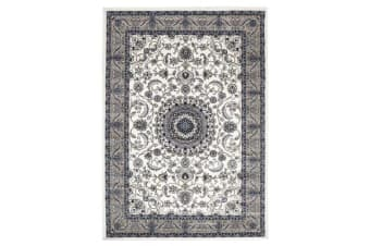 Medallion Runner Rug White with Beige Border