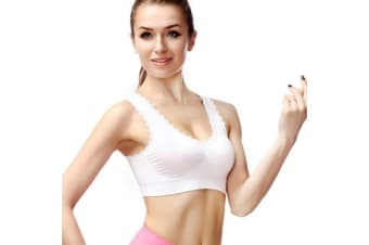 Women's Lace Trim Sports Bra Pullover Padded U-back Wirefree Yoga Sleep Bra  L