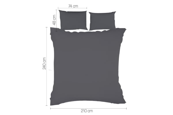 Giselle Bedding Plain Dyed Quilt Cover Set (King/Charcoal)