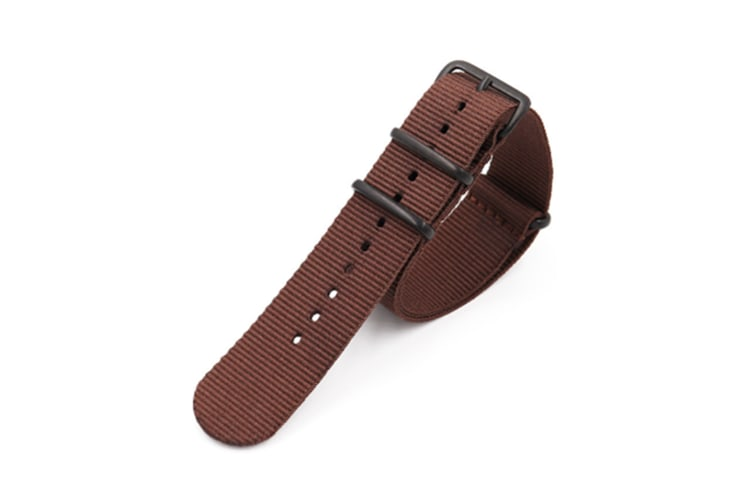 Select Mall Nato Style Rugged Sched Canvas Watch Strap Straps With Vac Plating Black Buckle Cotton Bands Brown20mm