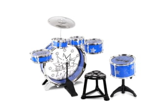 Kids Drums Play Set 8 Piece with Seat (Blue)