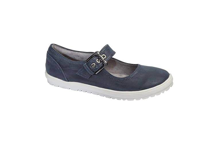 Cipriata Womens/Ladies Florence Buckle Bar Casual Flat Shoes (Navy Blue) (5 UK)