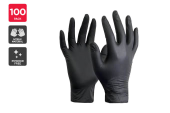 Nitrile Synthetic Rubber Gloves Powder Free Black (100 Pack)