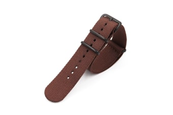 Select Mall NATO Style Rugged Stitched Canvas Watch Strap Straps with Vaccum Plating Black Buckle Cotton Canvas Watch Bands-Brown18mm