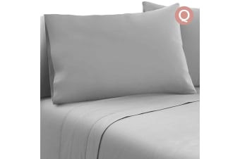 Giselle Bedding 1000TC Microfibre Bed Sheet Set Fitted Flat Pillowcase Queen GR