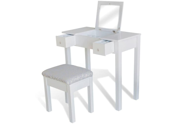 vidaXL Dressing Table with Stool and 1 Flip-up Mirror White