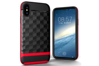 For iPhone XS X Case Modern 3D Diamond Armour Strong Durable Shielding Cover Red