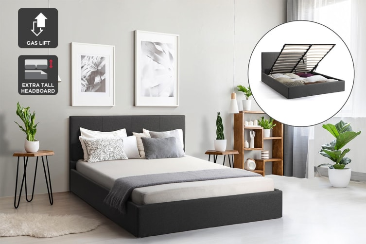 Shangri-La Stowe Gas Lift Bed Frame (Double, Charcoal)