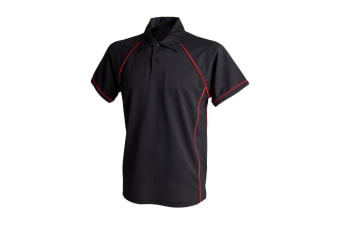 Finden & Hales Mens Piped Performance Sports Polo Shirt (Black/Red)