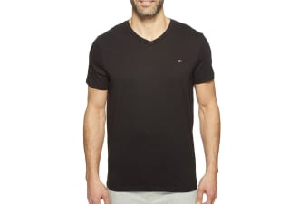 Tommy Hilfiger Men's V-Neck Flag Tee (Black, Size L)