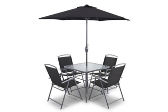 Gardeon 6 Piece Square Outdoor Dining Set (Black)