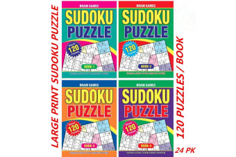 24 x A4 Sudoku Puzzle Books Adults Kids Mind Activity Travel (120 Puzzles/Book)