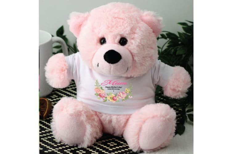 Mum Personalised Teddy Bear Light Pink Floral