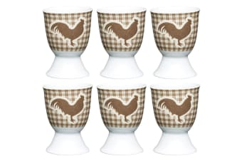 6pc KitchenCraft Hen Boiled Egg Cup Holder Stand Tableware Servingware Brown