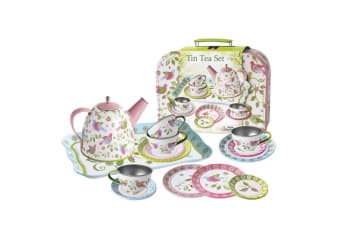 Floral Bird Tin Tea Set in Carry Case - Kaper Kidz