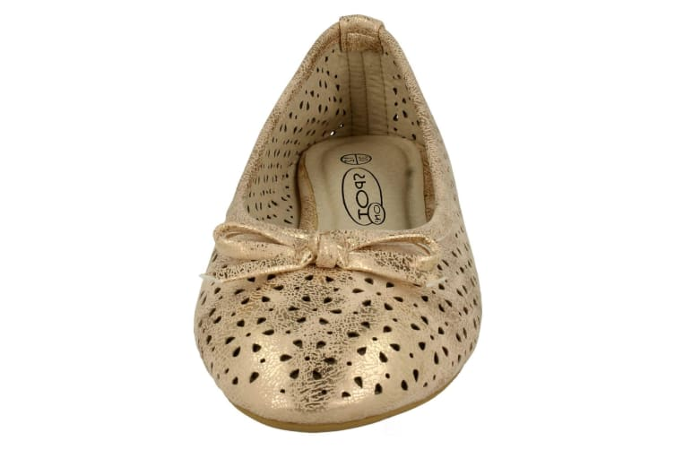 Spot On Childrens Girls Bow Cut Out Ballerina Flats (Rose Gold) (9 UK Child)