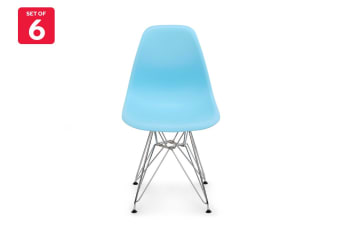 Shangri-La Set of 6 DSR Dining Chairs - Eames Replica (Light Blue/Chrome)