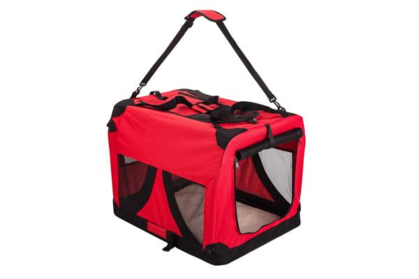 Portable Soft Dog Crate L - RED