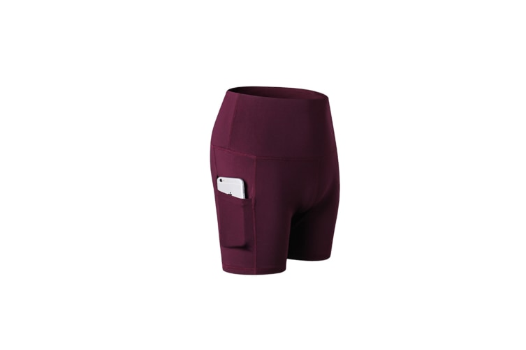 Women'S Shorts High Waist Workout Yoga Shorts Tummy Control Shorts Side Pocket - Wine Red Red L