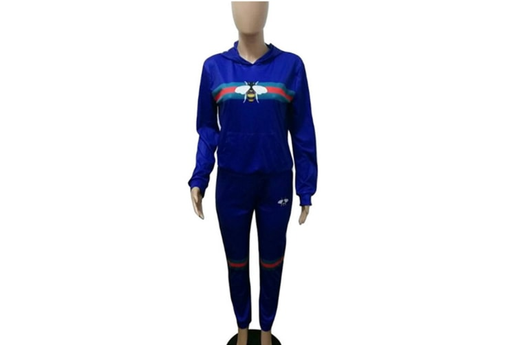 Womens Sexy 2 Piece Printed Sportswear Long Sleeve Hoodie Crop Top Pants Tracksuit Set Blue Xl