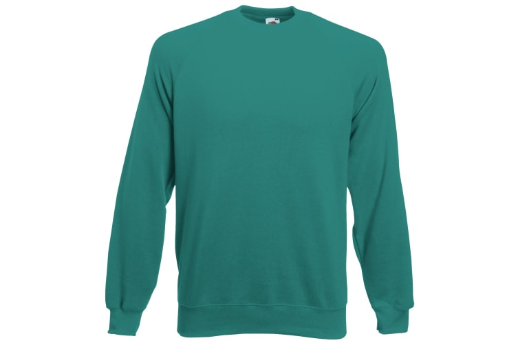 Fruit Of The Loom Childrens/Kids Unisex Raglan Sleeve Sweatshirt (Emerald) (7-8)