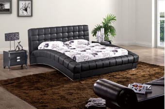 Elegance Leather Padded Bed Frame (King/Black)
