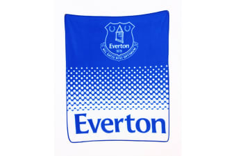 Everton FC Official Fade Football Crest Design Fleece Blanket (Blue/White) (One Size)