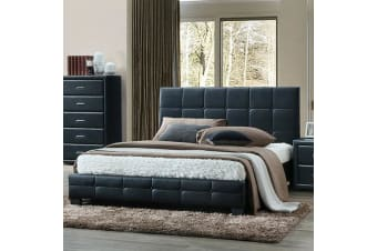 Bed Frame Double PU Leather Grid Patterns Slat Metal Joint Wood Legs Black Soho