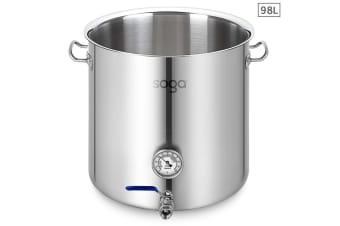 SOGA Stainless Steel 98L No Lid Brewery Pot With Beer Valve 50*50cm