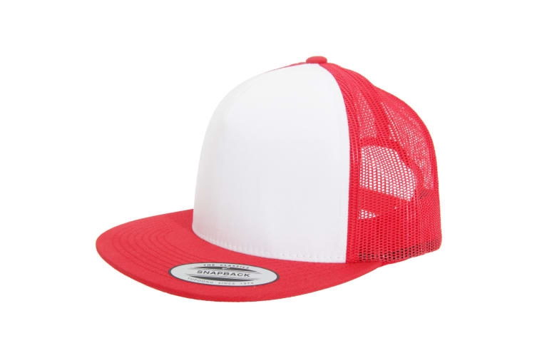 Yupoong Flexfit Unisex Classic Trucker Snapback Cap (Red/White/Red) (One Size)