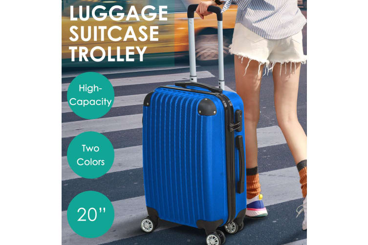 """20"""" Cabin Luggage Suitcase Code Lock Hard Shell Travel Case Carry On Bag Trolley  -  Blue"""