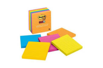 3M Post-It Super Sticky Lined Notes 675-6SSUC Rio De Janiero 101X101mm 6 Pads Per Pack