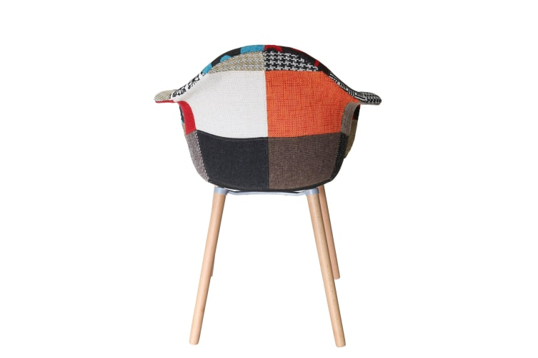 Replica Eames DAW Hal Inspired Chair   Multicoloured Patches V2 Fabric Seat   Natural Beech Legs