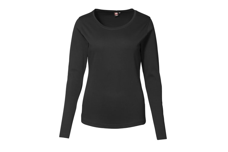 ID Womens/Ladies Fitted Long Sleeve Interlock T-Shirt (Black) (S)