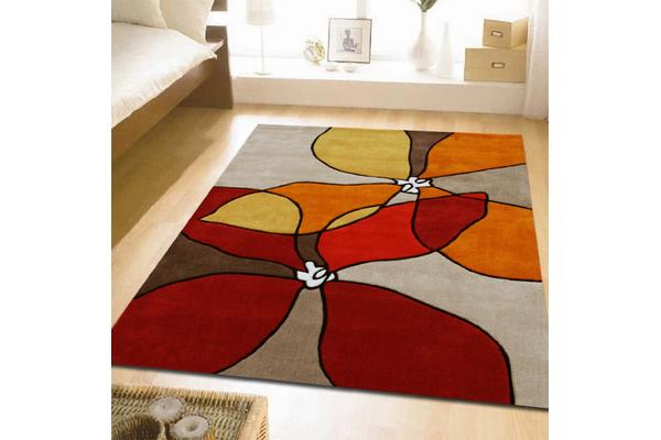 Organic Flower Design Rug Red Beige Rust 165x115cm
