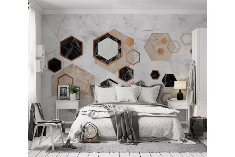 3D Color Geometry 1455 Wall Murals Woven paper (need glue), XXL 312cm x 219cm (WxH)(123''x87'')