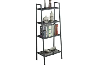 4 Tier Ladder Shelf Unit Bookshelf Bookcase Book Storage Display Rack Stand Home  -  Black