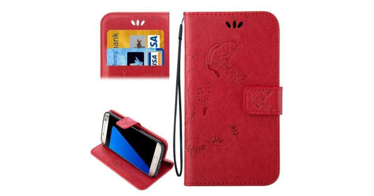 buy popular 861f5 c2bde For Samsung Galaxy S7 EDGE Wallet Case Stylish Butterfly Horse Leather  Cover Red | Phone Cases